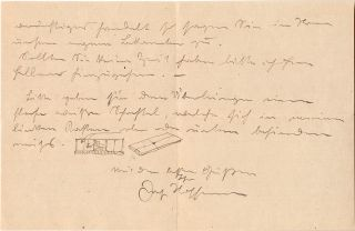 Autograph Letter Signed, in German, with two Illustrations, 3 pp on one 8vo sheet, n.p. but...