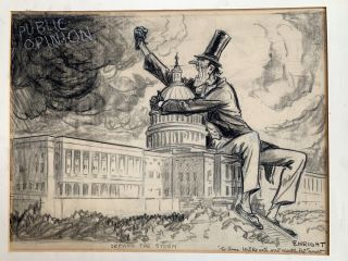 Original political cartoon signed, 16 x 20 inches with mat. WALTER J. ENRIGHT, a k. a. Pat Enright