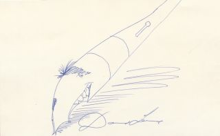 Sketch by Levine of his classic fountain pen with the artist's face forming the pen's nib,...