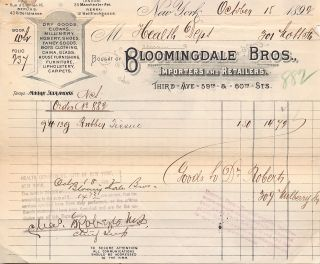 "A Pair of ""Bloomingdale Bros."" invoices to the New York City Dept. of Health for purchases of..."