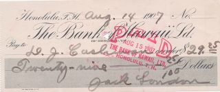 Printed and Autograph Document Signed, oblong 8vo, Honolulu, Hawaii, August 14, 1907