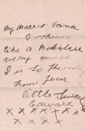"Early Autograph Letter Signed to his nurse on ""Osborne"" stationery, 8vo bifold, ca 1899. EDWARD VIII"