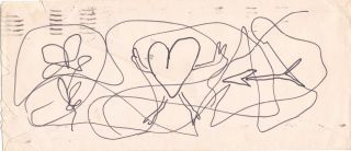 Original Sketch, unsigned, on back of a typed self addressed business envelope, postmarked...