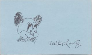 Andy Panda, Signed Sketch, on a small 8vo blue card. WALTER LANTZ