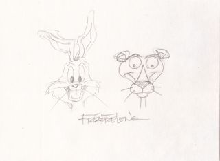 Bugs Bunny and the Pink Panther Sketched together in graphite, Signed, 8vo. FRIZ FRELENG
