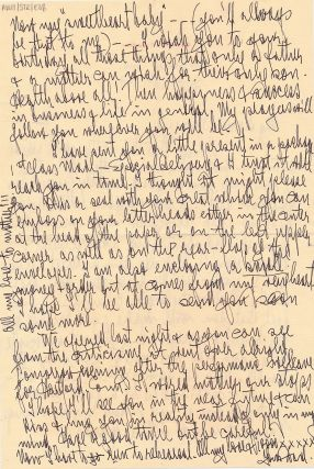 Autograph Letter Signed, 2 pp one one sheet of personalized stationery, 4to, New Haven, Conn, Sept. 16, 1941, with printed transmittal envelope.