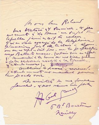 Early Autograph Letter Signed with Autograph Musical Quotation and theater content, in French,...