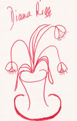 Charming Signed Sketch, 8vo, flowers in vase rendered in red ink or fine marker. DIANA RIGG