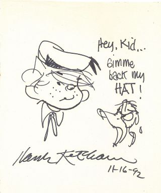 Donald Duck yells at Dennis the Menace in this Original Sketch Signed, 4to, Jan. 25, 1991. HANK...