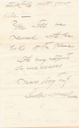 Autograph Letter Signed, 5 pages on 3 separate sheets of beige stationery, Scarboro, ME, June 29, 1903, with transmittal envelope in his hand.