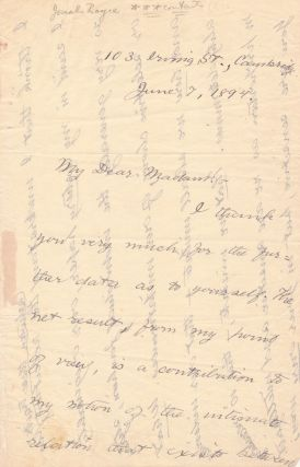 Substantial Autograph Letter Signed, 4 pp on one folded 4to sheet of onion skin paper, Cambridge (MA), June 7, 1894