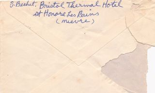 """Autograph Letter on decorative """"Bristol-Thermal Hotel"""" stationery, 4to, St. -Honore-Les-Bains (Nievre), France, n.d., with signature on transmittal envelope postmarked Sept. 5, 1958"""