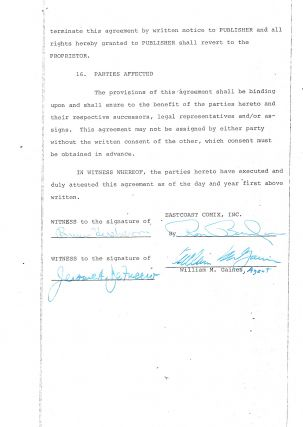 """Mad Magazine"" and ""Tales from the Crypt"" creator William Gaines signed this contract to publish ""Crypt of Terror No. 1"". Printed Document (publishing contract) Signed, 8 separate pages legal folio, New York, January 4, 1973."