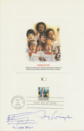 """Silver Bells"" composer wrote the familiar notes on an sheet 8vo, heavy greeting card stock, first day issue Christmas Card, Washington D.C., October 18, 1979. Autograph Music Quotation Signed."