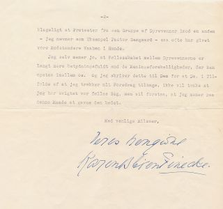 Animal rights is the issue Dinesen discusses in her Typed Letter Signed, in Danish, 2 separate...