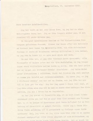 Animal rights is the issue Dinesen discusses in her Typed Letter Signed, in Danish, 2 separate pages folio, Rungstedlund, September 24, 1953.