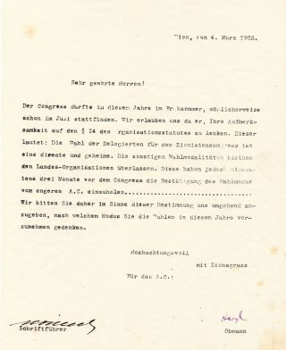Printed Document Signed, in German, 4to, Vienna, March 4, 1903. THEODOR HERZL