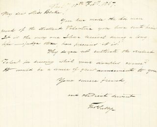 Autograph Letter Signed, oblong 8vo, Philadelphia, February 7, 1867. THOMAS SULLY