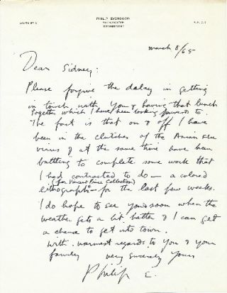 Autograph Letter Signed, 4to, on personalized stationery, Bridgewater Connecticut, March 8, 1965....