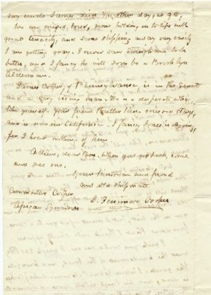 Autograph Letter Signed two pages 8vo, Cooperstown, NY, August 20, 1849.