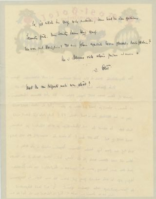 Autograph Letter Signed, in German, on magnificent hotel multicolored stationery, 4 full 4to pages, Partenkirchen, Thursday, September 3, 1931.