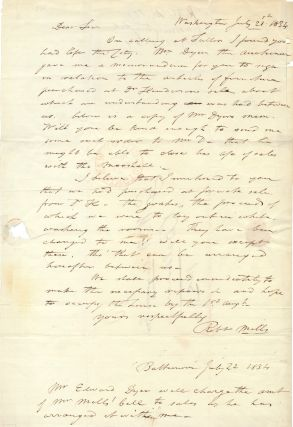 Rare Autograph Letter Signed, one folio integral address leaf sheet, Washington, July 21, 1834...
