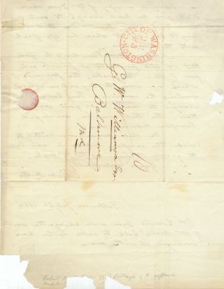 Rare Autograph Letter Signed, one folio integral address leaf sheet, Washington, July 21, 1834 and a postscript, Baltimore, July 22, 1834.