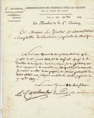 "Manuscript Letter Signed, in French, on """"4th Division, Administration of Hospices for Civilian Assistance Home Assistance of the City of Paris Section"" 4to stationery, Paris, Sept. 9, 1812. PIERRE SAMUEL DU PONT DE NEMOURS."