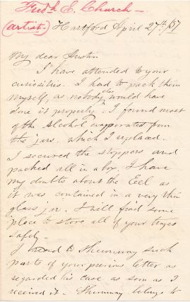 Autograph Letter Signed, 8vo, 3pp, Hartford, Conn., April 27, 1857. FREDERICK E. CHURCH